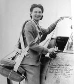 Autographed copy of a posed photo of WAFS pilot Florene Watson with an AT-6 Texan, Love Field, Dallas, Texas, United States, Feb 1943