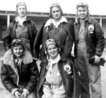 "WASP Cadet Class 44-W-4 ""Baymates"" (barrack mates). Back Row: Dorothy Allen, Jane Baessler, Deanie Bishop. Front Row: Ina Barkley, Jo Naker. Avenger Field, Sweetwater, Texas, United States, Apr 1944"