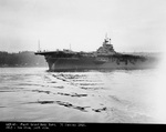Carrier Franklin off the Puget Sound Navy Yard, Bremerton, Washington, United States, 31 Jan 1945 after repairs from a Japanese special aircraft attack.