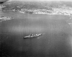 Aerial photo taken by USS Hancock aircraft showing the Japanese battleship Nagato off the Yokosuka Navy Yard, Tokyo Bay, Japan, Aug-Sep 1945