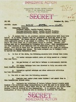 Page 1 of a US Army alert order dated 28 Nov 1941 issued to west coast commands indicating the rising tensions with Japan. The first paragraph is a repeat of the alert issued by George Marshall in Washington, DC.