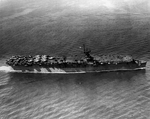 Light Carrier USS Princeton with a deck full of aircraft on her shakedown cruise, 31 May 1943 off Antigua. Photo 3 of 4
