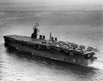 Light Carrier USS Princeton with a deck full of aircraft on her shakedown cruise, 31 May 1943 off Antigua. Photo 4 of 4