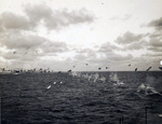 "Tracer rounds within intensive anti-aircraft fire from the Light Carrier USS Belleau Wood aimed at a Japanese G4M ""Betty"" bomber attacking at wave-top level off the Mariana Islands, 22 Feb 1944"