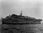 With her deck loaded with aircraft, Light Carrier USS Belleau Wood riding at anchor off Hunters Point Naval Shipyard, San Francisco, California, United States, 19 Jan 1945