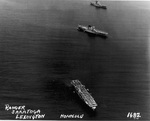 USS Ranger (foreground), USS Lexington (center), and USS Saratoga (background) at anchor off Honolulu, US Territory of Hawaii, 8 Apr 1938 during the exercise Fleet problem XIX. Photo 2 of 2