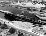 USS Ranger transiting the Gatún Locks of the Panama Canal, 12 Oct 1945