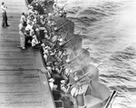 USS Enterprise gunnery crews practice with their 20mm anti-aircraft guns off Hawaii, May 1942.