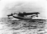 Consolidated XPB2Y-1 Coronado flying boat, a later prototype, making a landing off the Naval Air Station at Corpus Christi, Texas, United States, circa 1938.