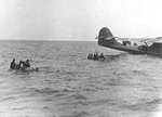 The rescue of Brigadier General Nathan Twining and his party of 14 who had been adrift in the Coral Sea for 5 days after their B-17 aircraft was forced to ditch, 1 Feb 1943. Note PBY Catalina of Patrol Squadron VP-91