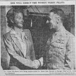 Newspaper photo of US Army Air Force Chief of Transport Command, Major General Harold George, congratulating Nancy Harkness Love on her appointment to head the Women's Auxiliary Ferry Squadron (WAFS), Sep 1942