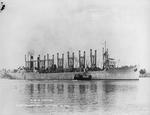 US Navy collier USS Jupiter at Mare Island, California, United States, 16 Oct 1913. In 1922 Jupiter was modified to become the United States' first aircraft carrier and was renamed USS Langley