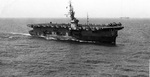 Casablanca-class Escort Carrier USS Shamrock Bay underway off Formosa (Taiwan), 24 Jun 1945. Note FM-2 Wildcat fighters on the flight deck.