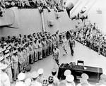 MacArthur and Nimitz aboard USS Missouri, 2 Sep 1945. Photo 3 of 3