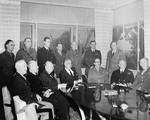 President Franklin Roosevelt and Prime Minister Churchill confer with the Combined Chiefs of Staff during the Casablanca Conference at Roosevelt's Dar es Saada villa in Casablanca, French Morocco, 18 Jan 1943.