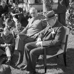 Franklin Roosevelt and Winston Churchill brief war correspondents in the gardens of Roosevelt's Villa Dar es Saada in the Anfa neighborhood of Casablanca, French Morocco during the Casablanca Conference, 24 Jan 1943.