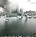 Strike photo taken from planes flying from USS Essex of the attack on Surigao Harbor in northern Mindanao, Philippine Islands, 9 Sep 1944