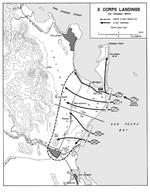 Map of the Leyte landing beaches, 20 Oct 1944