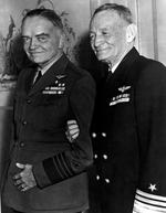 "Admiral William Halsey and Vice Admiral John McCain enjoying a lighter moment at an Army and Navy conference in Los Angeles, California, United States, 8 Jan 1944. Note Halsey's ""Aviator Greens"" uniform."