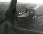 Photo of Essex-class carrier USS Randolph taken from the back seat of an SB2C Helldiver that had just launched, Feb or Mar 1945, Pacific