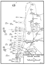 Map of landing beaches on Okinawa, Japan, 1 Apr 1945