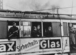 Soviet soldiers in a tram, Berlin, Germany, May 1945