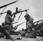 Japanese Type 99 machine gun crew demonstrating its anti-strafing set up, date unknown