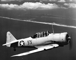 SNJ Texan of the Navy's Photographic School on a training flight, Pensacola, Florida, United States, 22 Jun 1943