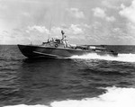 PT Boat PT-564 being tested in the Gulf of Mexico, 1944. Note the Mark XIII aerial torpedoes on the deck. The smaller, lighter, faster PT-564 design was not put into production.