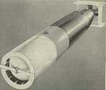 Drawing of the Mark XIII aerial torpedo showing the wooden tail shroud and the plywood drag ring on the nose. Both were designed to stabilize the torpedo during the drop and then break off on impact with the water.