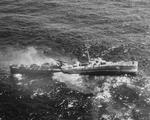 Destroyer Escort USS Fiske broken in two and sinking in the North Atlantic after being torpedoed by German submarine U-804, 2 Aug 1944.