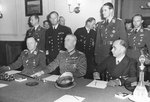 German Generaloberst Hans-Jürgen Stumpff, Generalfeldmarschall Wilhelm Keitel, and Generaladmiral Hans-Georg von Friedeburg at the surrender ceremony at Karlshorst, Berlin, Germany, 8 May 1945. Photo 2 of 2