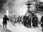 Monks in a bombing drill, Senso Temple, Asakusaa, Tokyo, Japan, 30 May 1936