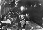 Civilians in a subway platform air raid shelter, Madrid, Spain, 9 Dec 1936