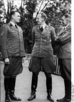 Prague's top three Nazis: Horst Böhme, Reinhard Heydrich, and Karl Hermann Frank in Prague, Czechoslovakia, Sep 1941.