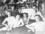 US Navy submariners, 1943-1945; they were likely crewmembers of USS Billfish, USS Bowfin, or USS Burrfish