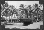 Japanese Ko-hyoteki Hei Gata Type C midget submarine on a pedestal at Camp Dealy Rest & Recreation center on Guam, Mariana Islands, mid-1940s. This sub was captured aground on western Guam in late 1944.