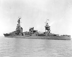 Heavy cruiser USS Chester after an overhaul off Mare Island Naval Shipyard in San Francisco Bay, California, 6 Aug 1942. Photo 2 of 2.