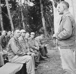US Army Medical Corps doctor Colonel Gordon Seagraves speaking to US and Chinese officers, Ningam Sakan, northern Burma, 24 Dec 1943
