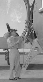 General Joseph Stilwell boarding a transport aircraft at the airport in New Delhi, India for Chongqing, China, Sep 1944