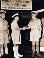 Raymond Spruance, Bruce Fraser, and Chester Nimitz at Nimitz