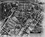 USAAF intelligence aerial photograph of the Auschwitz I main camp at Oświęcim, Poland taken 4 Apr 1944. This is a scan of an enlarged print taken from the original negative and captioned by the CIA in 1978.