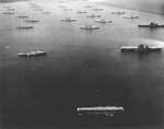 All three of the United States Navy's aircraft carriers at the time, Langley, Saratoga, and Lexington, along with battleships and cruisers at anchor in Colon, Panama Canal Zone, roughly 1935.