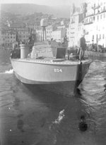 PT-204, a Higgins 78-footer of Motor Torpedo Boat Squadron 15 (MTBRon 15) in Bastia harbor, Corsica, France, May 1944.