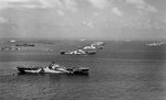 USS Wasp, USS Yorktown, USS Hornet, USS Hancock, USS Ticonderoga, and other warships at Ulithi Atoll, Caroline Islands, 8 Dec 1944, photo 3 of 3