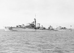 Broadside view of Norwegian destroyer HNoMS Stord at anchor in Dec 1943, probably at Scapa Flow, Scotland, United Kingdom