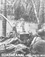 US Marine Browning M1917 machine gun position over a Matanikao River crossing, Guadalcanal, Sep-Oct 1942