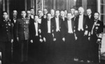 Kong Xiangxi (H. H. Kung), Hjalmar Schacht, Chen Shaokuan, and others at the Chinese ambassasy in Berlin, Germany, 10 Jun 1937