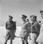 King George II of Greece reviewing a Greek fighter station in the Western Desert, Egypt, circa 1942