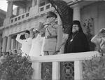 King George II of Greece in Alexandria, 1942; note Baker Pasha, Admiral Henry Harwood, and Patriarch Christoforos